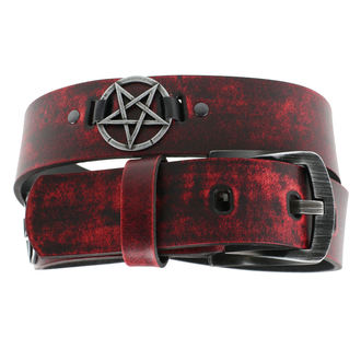 Belt Pentragram - red, JM LEATHER