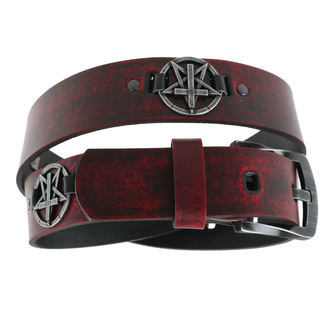 Belt Pentagram Cross - red, JM LEATHER