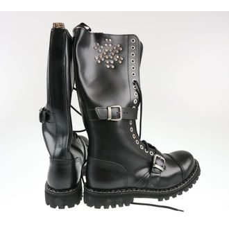 leather boots men's - 20 dírkové Rivets Black - STEEL, STEEL