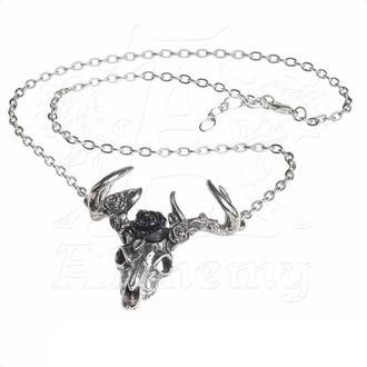 Necklace ALCHEMY GOTHIC - White Hart Black Rose, ALCHEMY GOTHIC