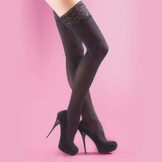 tights LEGWEAR - 40 denier opaque lace top hold ups - black, LEGWEAR