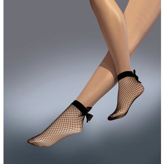 Sheer socks LEGWEAR - Fishnet bow ankle highs - Black, LEGWEAR
