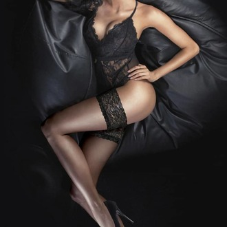 Hold-up stockings LEGWEAR - Ultra gloss lace top hold ups - Barely black, LEGWEAR