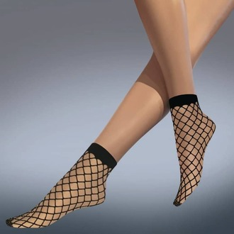 socks (stockings) LEGWEAR - whale net ankle highs - black - LE006